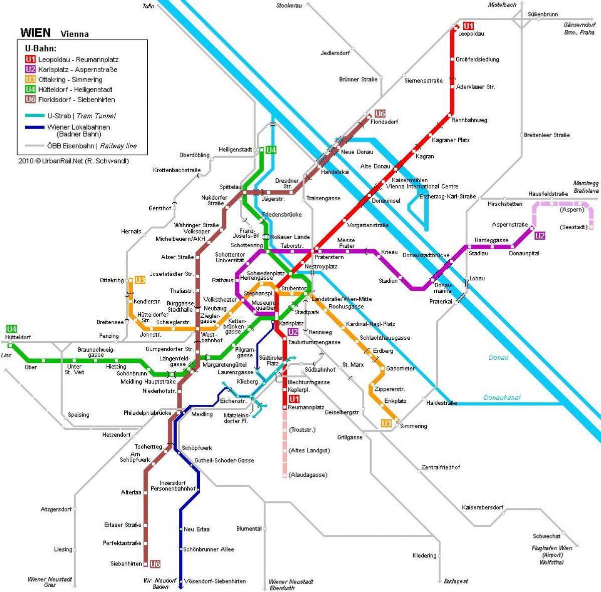 Becs Ausztria Foldalatti Terkep Becsi Metro Terkep Hauptbahnhof