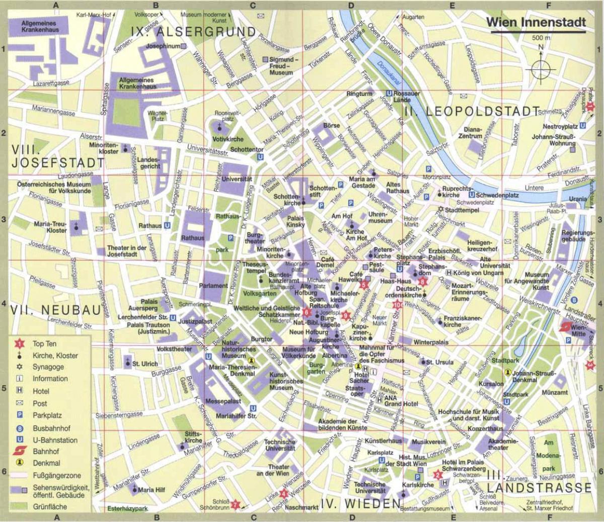 www ausztria térkép hu Bécs Ausztria idegenforgalmi térkép   Bécs város idegenforgalmi  www ausztria térkép hu